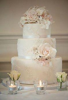 Wedding Ideas: 20 Romantic Ways to Use Lace - wedding cake;  Claire Graham #WeddingIdeasRomantic
