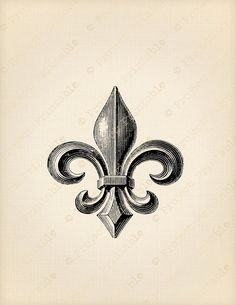 Vintage FLEUR DE LIS Fabric Transfer Instant by ProjectPrintable