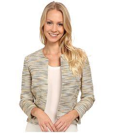 Anne Klein Anne Klein  Collarless Irregular Tweed Jacket Goldenrod Womens Coat for 90.99 at Im in!