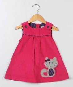 Another great find on Dark Pink Cat Corduroy Jumper - Infant & Toddler Toddler Dress, Toddler Outfits, Toddler Girl, Kids Outfits, Infant Toddler, Baby Girl Dress Patterns, Little Girl Dresses, Girls Dresses, Baby Girl Fashion