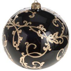 e0e180c24fd Bola de navidad vidrio soplado negro arabescos dorados 15 cm. Decoracion ...