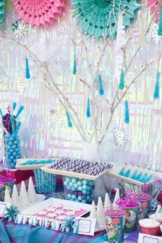 Disney's Frozen themed birthday party full of ideas! Via KarasPartyIdeas.com #frozen #frozenparty love the rock candy sticks and the backdrop!