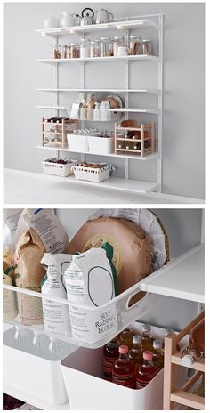 Ikea Algot storage system- can it handle all that weight? - Ikea DIY - The best IKEA hacks all in one place Ikea Storage Bins, Hallway Storage, Living Room Storage, Diy Storage, Storage Shelves, Ikea Pantry, Pantry Storage, Garage Storage, Kitchen Storage