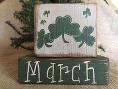 Primitive Country St Patricks Day Shamrocks March Shelf Sitter Wood Block Set #CountryPrimitive #DoughandSplinters