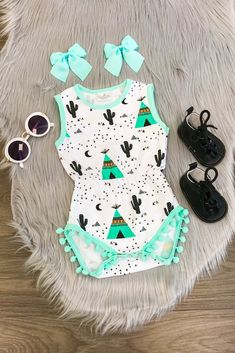 Mint Cactus & TeePee Pom Pom Romper - Sparkle in Pink Baby Girl Fashion, Toddler Fashion, Toddler Outfits, Boy Outfits, Kids Fashion, Fashion Check, Fashion 2015, Fall Outfits, Cute Baby Girl
