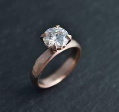 8mm Moissanite in 14k Rose Gold Romance Ring Heart Shape