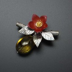 Chinese Quince flower and fruit brooch, oxidized silver and hido copper by KAZNESQ