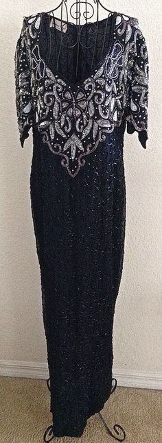 Vintage Laurence Kazar Sequin Beaded Evening Gown Dress Silk Faux Pearl Lined M #LaurenceKazar #Gown