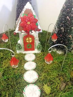 Christmas fairy garden house and accessories kit.  4 each-red fairy lights, snowflake stepping stones9 pieces + free gift.. by PuppyLoveMiniature on Etsy