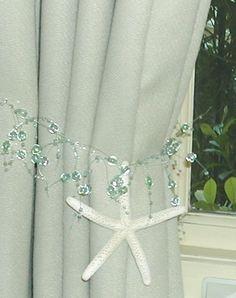 Beach Decor - 2 Curtain Tiebacks with Starfish