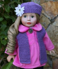 "Pink Plush 18"" DOLL Coat for American Girl Dolls. COAT ONLY."