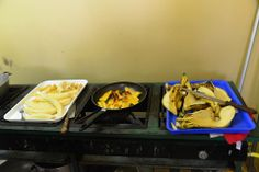 Preparing plantains in Young Living Academy's kitchen!