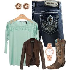 """Midway"" by vault-denim-amber on Polyvore----There's nothing like a casual day out walking the midway of the county fair. You'll need your boots, I mean it is a fair, a lovely blouse, an easy jacket, and your favorite Miss Chic denim to really give you that country queen feel. Find these Miss Chic at 14665.vaultdenim.com"