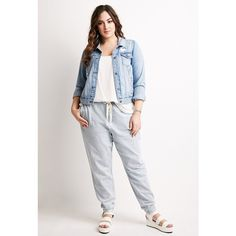 Forever 21 Plus Women's  Plus Size Pinstriped Denim Joggers ($17) ❤ liked on Polyvore featuring plus size fashion, plus size clothing, plus size activewear, plus size activewear pants, denim sweat pants, forever 21 activewear, plus size sportswear, sweat pants and plus size sweatpants