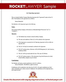 Llc Operating Agreement Template Llc Operating Agreement Template