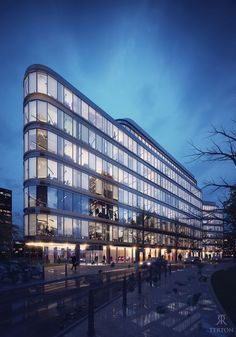 landscape architecture - Office building in the evening Office Building Architecture, Retail Architecture, Architecture Panel, Commercial Architecture, Building Facade, Architecture Portfolio, Building Design, Amazing Architecture, Office Buildings