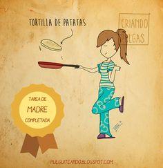 Mi primera tortilla de patatas http://pulguiteando.blogspot.com.es/2016/06/mi-primera-tortilla-de-patatas.html #maternity #maternidad #ilustración #dibujo #draw #childhood #niños #infancia #maternidadilustrada