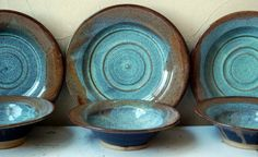 Price Reduced! WAS 60.00 Stoneware Dinner Set, Plate, Bowl, Green, Golden, Brown, Ceramic, Wheel Thrown, Speckled Buff Clay, FREE SHIPPING on Etsy, $52.00