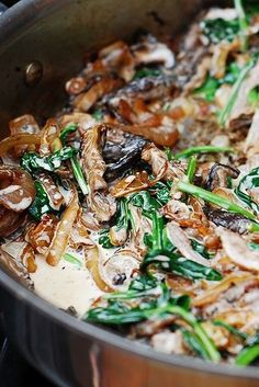 Sauteed spinach, mushrooms, and onions.... Yummy at the side of a juicy grilled steak