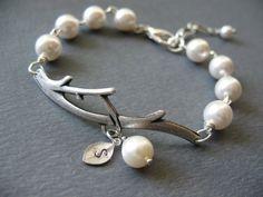 Initial Bracelet Pearl Bracelet Branch Bracelet by BlueDoveStudio