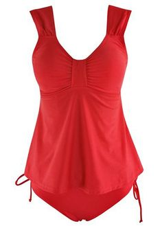 Red Open Back Top and High Waist Panty | lulugal.com - USD $25.34