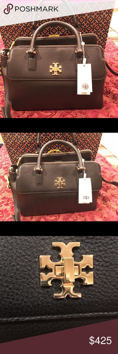 "NEW Tory Burch Mercer Dome Bag Satchel - Black TORY BURCH MERCER DOME SATCHEL  Color : BLACK 100% AUTHENTIC —- MSRP : $535 D e t a i l s : Grained leather, Gold tone hardware, Double tubular handles drop 4 with detachable longer strap drop 23"", Gold-tone hardware, jacquard lining, Exterior features flap closure pocket, 2 zipper compartment at front and back, Center compartment with magnetic snap closure, Center compartment features 1 zip pocket and slip pockets. Measurement : 14"" (L) x 10""…"