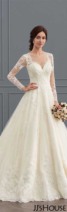 Ball-Gown-Scoop-Neck-Court-Train-Tulle-Lace-Wedding-Dress-With ...