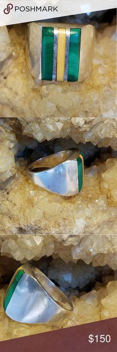 Spotted while shopping on Poshmark: Vintage 1960's sterling malachite/onyx ring! #poshmark #fashion #shopping #style #Other