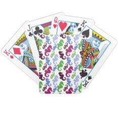 Seahorses Pattern Nautical Beach Theme Gifts Poker Cards