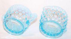 TipTop Mercantile Sugar Bowl and Creamer Set Blue Depression Glass Hobnail Vintage