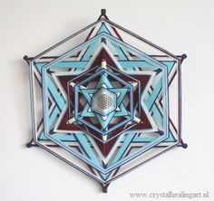 Mandala weaving:  Merkaba with flower of life( 19,3 inch) 6-zijdig!
