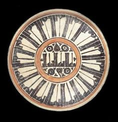 A slip-painted pottery tazza. Persia, 10th Century