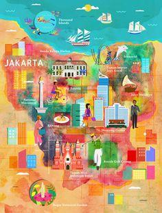 Jakarta Map by Kitkat Pecson via Design is Yay!