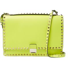 Valentino Garavani Women's Rockstud Small Leather Shoulder Bag -... (3.825 BRL) ❤ liked on Polyvore featuring bags, handbags, shoulder bags, yellow, shoulder strap bags, valentino shoulder bag, shoulder strap handbags, genuine leather handbags and yellow leather handbags
