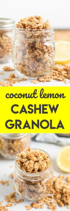 Coconut Lemon Cashew Granola. The refreshing flavor of lemon with crunchy cashews and crispy coocnut flakes. Enjoy this on your favorite yogurt or by the handful. #granola #oats #snack