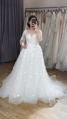 Illusion backless wedding dress with sheer long sleeve and sparkly overskirt featuring 3D floral lace for winter brides #detachableskirt Backless Wedding, Boho Wedding, Wedding Gowns, Winter Bride, Custom Wedding Dress, Bridal Style, Floral Lace, Illusion, Bridal Dresses