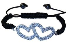 Bracelet, Shamballa type w/ crystal, double heart design HaleysPlanet. $9.99. Crystal. Alloy