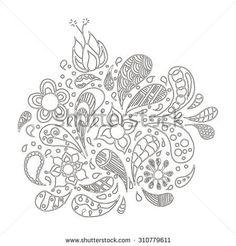 Doodles, zentangle stylized, vector, illustration, pattern, freehand pencil, flowers, petals, pattern