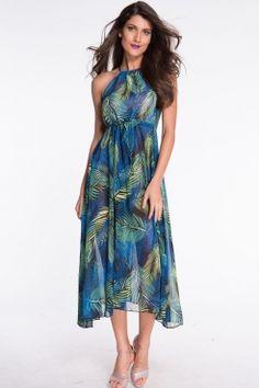 Palm Desert Navy-blue Multi-color Slit Maxi Dress