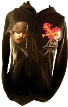 """I found 'Pirates of the Caribbean Ladies Hoodie - """"Love Jack"""" Sparrow John Depp Image on Black' on Wish, check it out!"""