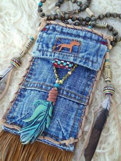 tribal american INDIAN medicine bag denim with FEATHER charm turquoise suede leather beaded necklace Jean Crafts, Denim Crafts, Do It Yourself Jeans, Denim Handbags, Denim Purse, Medicine Bag, Denim Ideas, Old Jeans, Denim Bags From Jeans