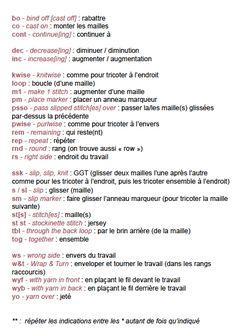 Aide-mémoire tricot anglais-français 3