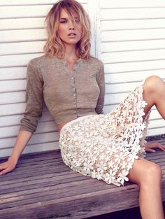 .lace skirt, cardigan