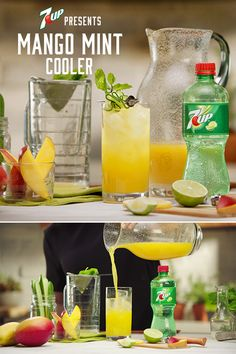 The Mango Mint Cooler is a sweet, refreshing, non-alcoholic sip of deliciousness. Mix it up for brunch, BBQs, and backyard parties. (non alcoholic drinks for wedding) Party Drinks, Cocktail Drinks, Fun Drinks, Healthy Drinks, Refreshing Drinks, Summer Drinks, Good Food, Yummy Food, Non Alcoholic Drinks