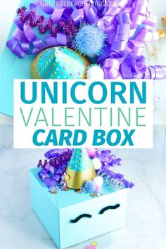 DIY Unicorn Valentine Card Box - This Unicorn Valentine Box is the cutest! It's an easy way to make your own DIY Unicorn Valentine - Diy Valentines Cards, Valentine Crafts For Kids, Valentines Day Activities, Homemade Valentines, Diy Valentine's Card Box, Googly Eye Crafts, Valentine Boxes For School, Unicorn Valentine, Valentine's Day Poster