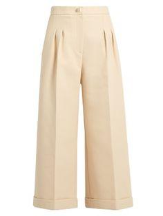 Stud-embellished wide-leg cropped cotton trousers | Fendi | MATCHESFASHION.COM