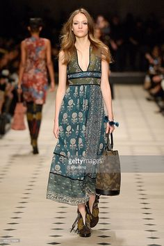 A model walks the runway at the Burberry Prorsum Autumn Winter 2015 fashion show during London Fashion Week on February 23, 2015 in London, United Kingdom.