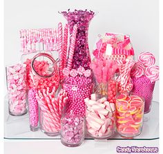 It's all about the Candy at your Candyland Party! Find creative ideas and unique tips to make your Candyland party a sweet success! Pink Candy Buffet, Candy Buffet Tables, Dessert Buffet, Buffet Ideas, Pink Candy Bars, Buffet Recipes, Lolly Buffet, Yellow Candy, Purple Candy