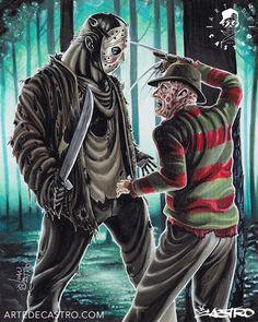 Jason and Freddy Horror Icons, Horror Movie Posters, Freddy Krueger, Horror Photos, Horror Artwork, Horror Movie Characters, Classic Horror Movies, Horror Show, Jason Voorhees