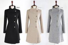 Grau wolle Jacket Women Mantel Winterjacke Herbst Winter